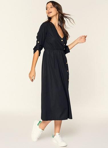 Loves You Düğme Detaylı Poplin Gömlek Elbise Siyah